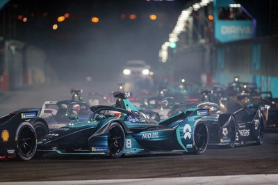 Formula E drivers light up the streets as part of the inaugural all-electric night race for Diriyah E-Prix, the first motor sporting event to attempt and successfully use high performance, sustainable and fully renewable LED lighting technologies