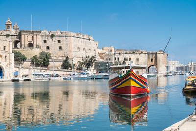 Traditionally painted passenger boat - Vittoriosa, Malta.