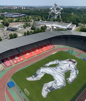 PROJECT CLOSER by Wim Tellier reveals larger than life art installation in soccer stadium of Belgium Red Devils