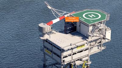 An impression of the electrolyzer unit on deck of the Neptune Q13a-A platform
