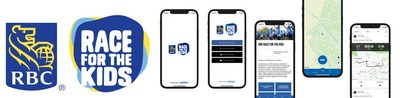 RBC Race for the Kids wordmark and screenshots of the new mobile app